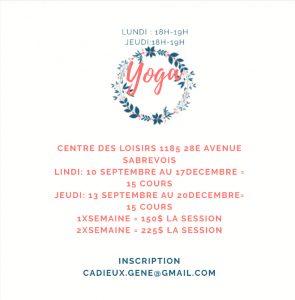 COURS DE YOGA @ CENTRE DES LOISIRS