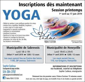 cours de yoga printemps 2019 @ Centre des Loisirs de Sabrevois