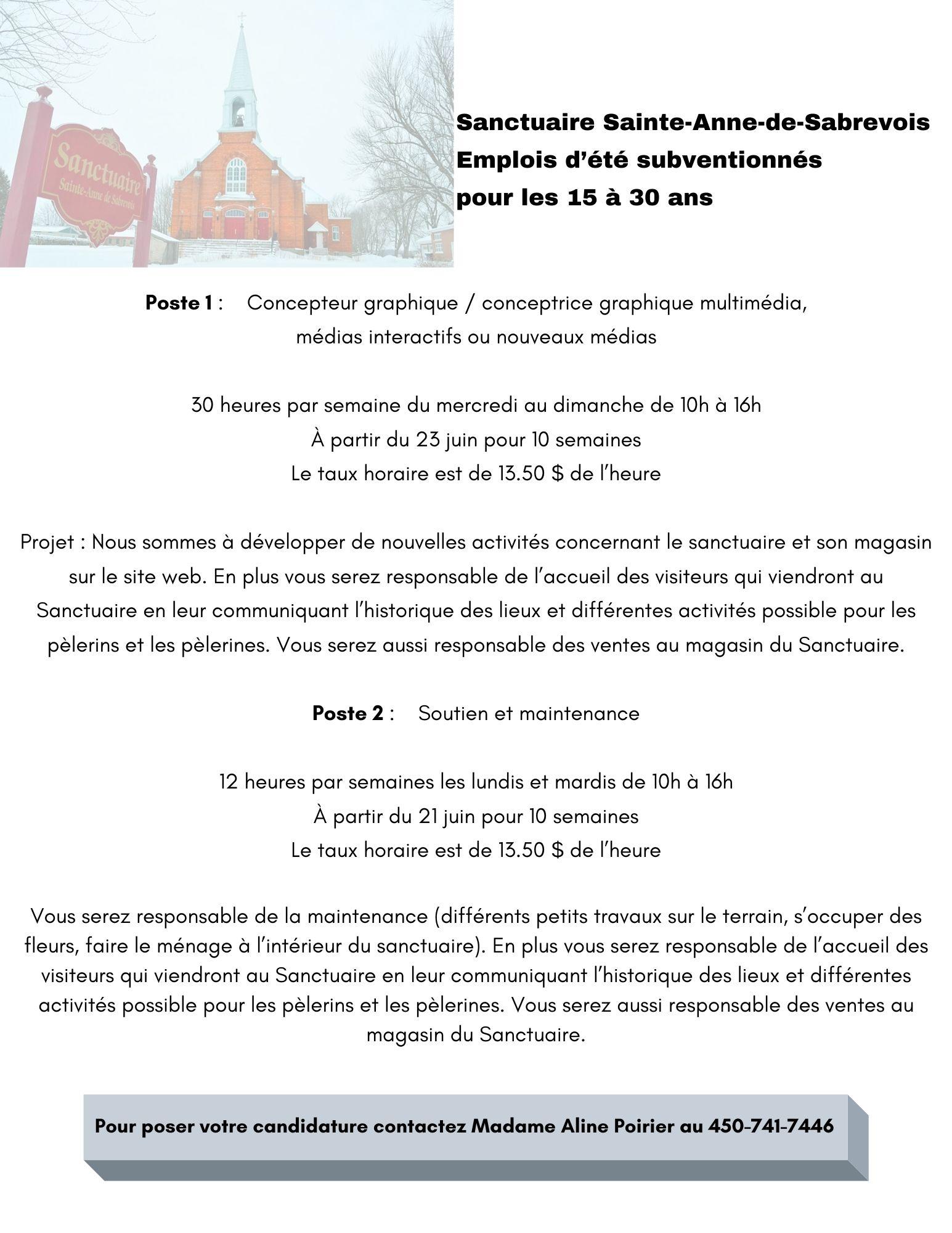 Offres d'emplois étudiants - Sanctuaire Sainte-Anne-de-Sabrevois